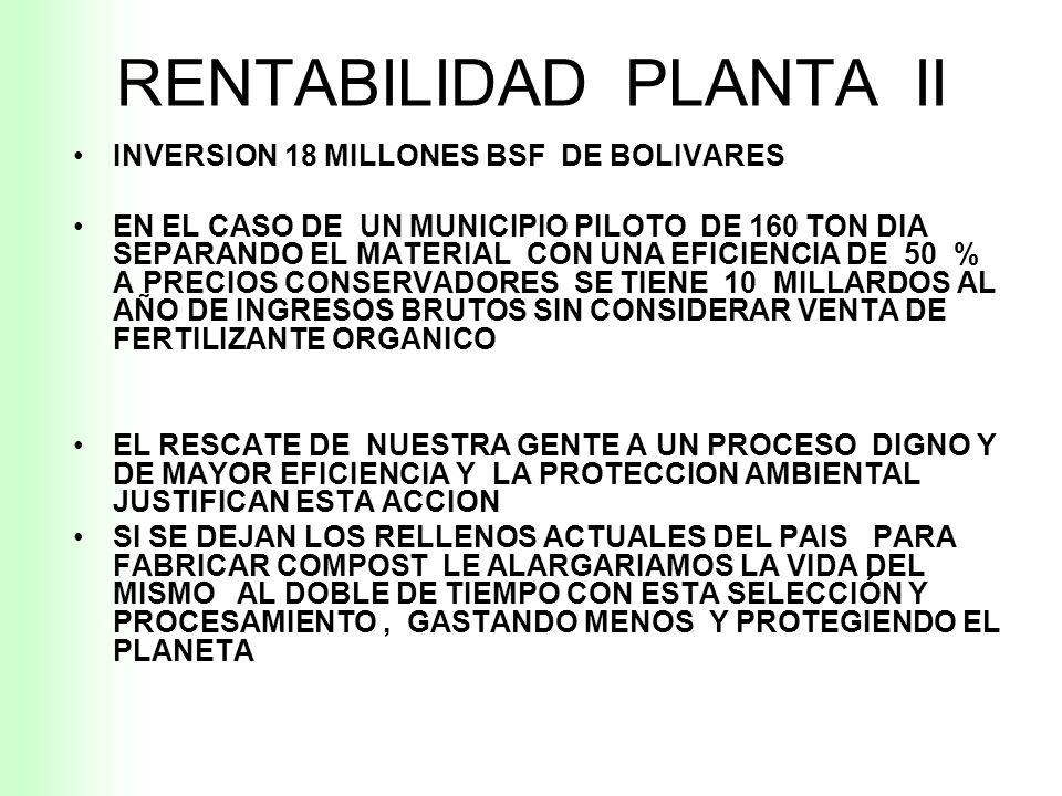 RENTABILIDAD PLANTA II