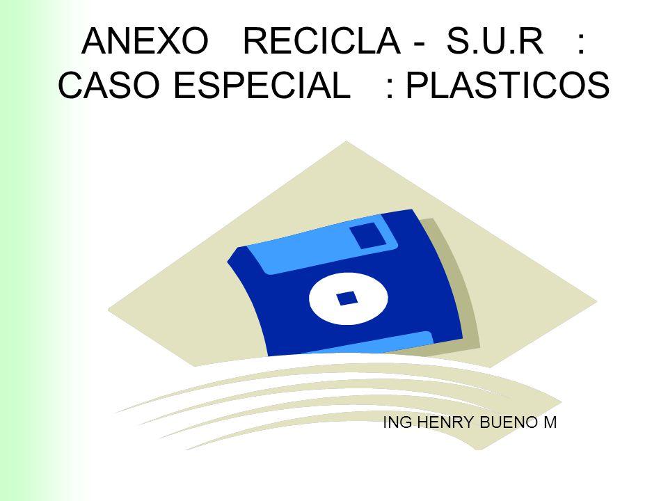 ANEXO RECICLA - S.U.R : CASO ESPECIAL : PLASTICOS