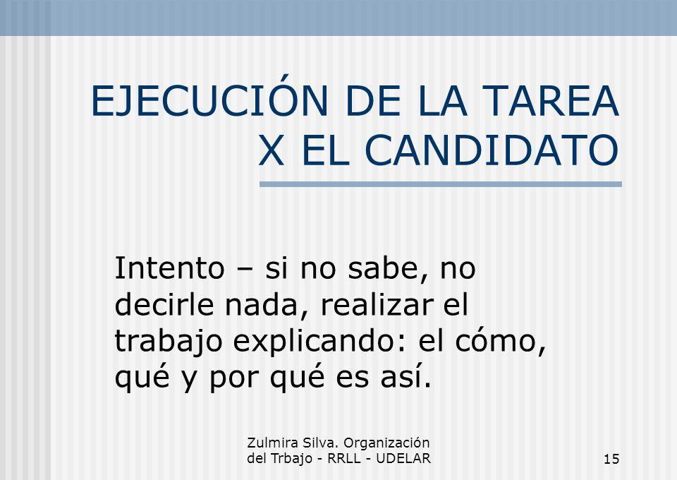 EJECUCIÓN DE LA TAREA X EL CANDIDATO