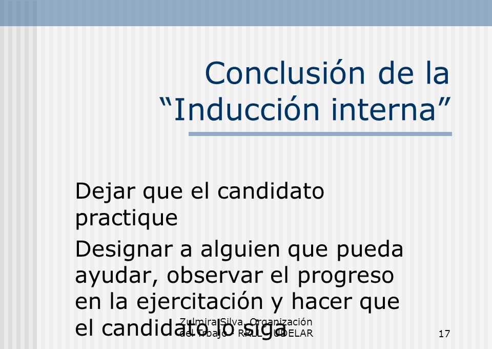 Conclusión de la Inducción interna