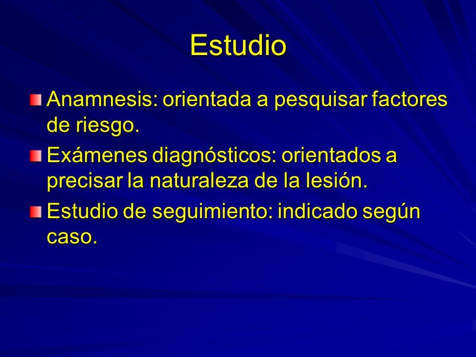 Estudio Anamnesis: orientada a pesquisar factores de riesgo.