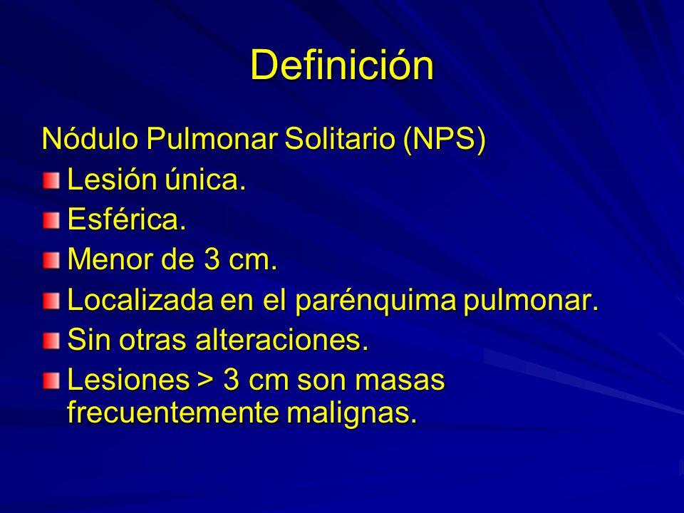Definición Nódulo Pulmonar Solitario (NPS) Lesión única. Esférica.