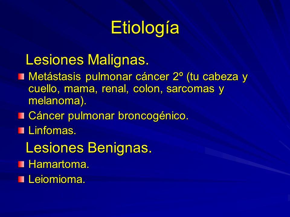 Etiología Lesiones Malignas. Lesiones Benignas.