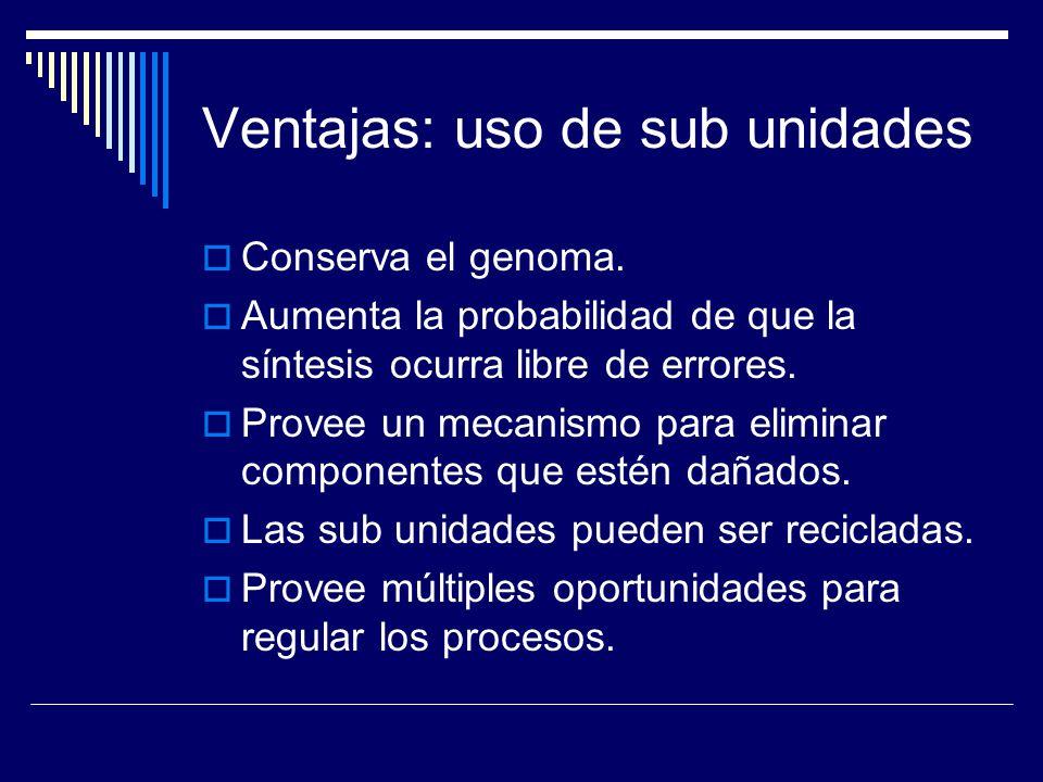 Ventajas: uso de sub unidades