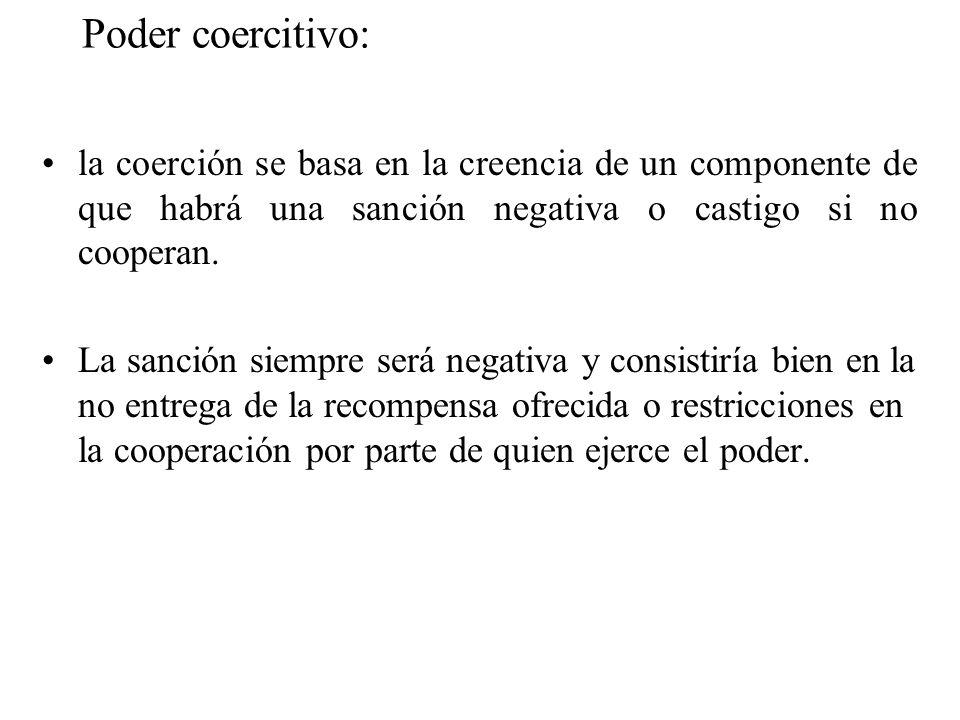 Poder coercitivo: la coerción se basa en la creencia de un componente de que habrá una sanción negativa o castigo si no cooperan.