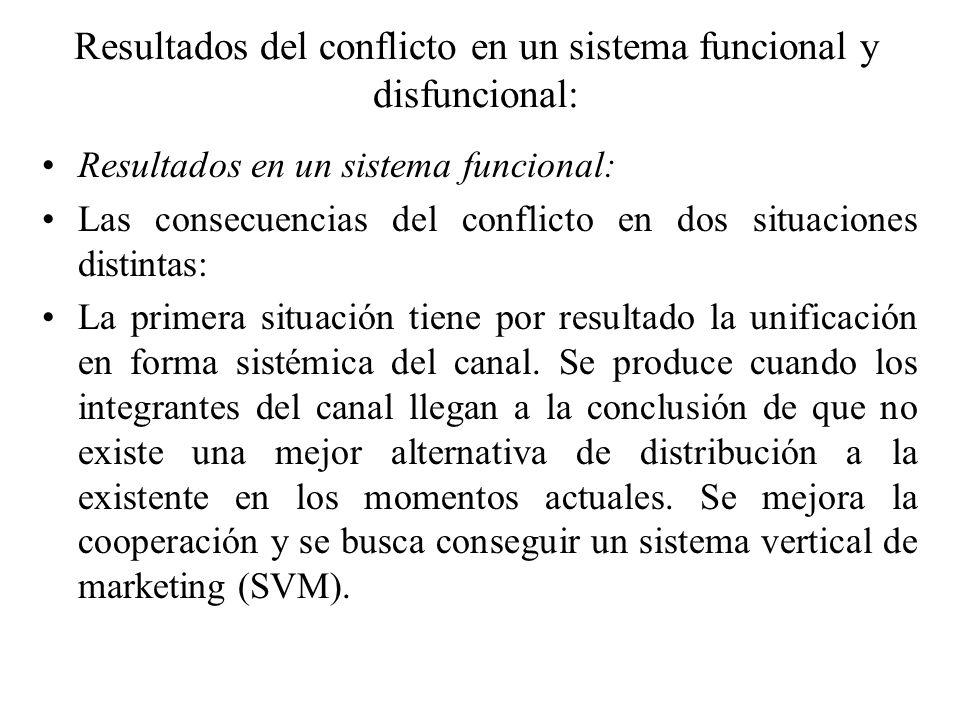 Resultados del conflicto en un sistema funcional y disfuncional: