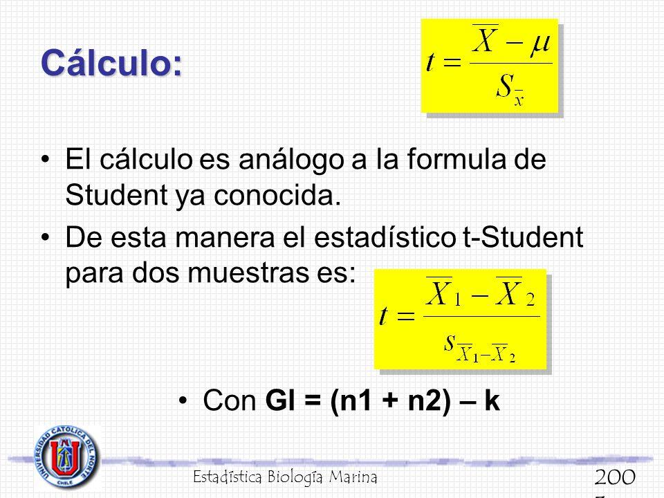 Cálculo: El cálculo es análogo a la formula de Student ya conocida.