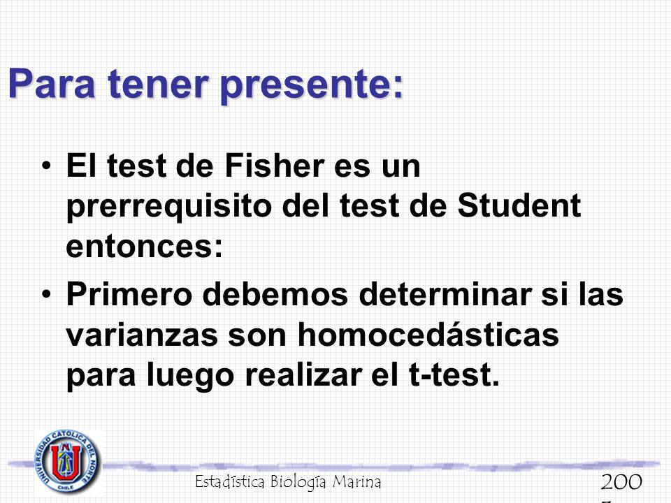 Para tener presente: El test de Fisher es un prerrequisito del test de Student entonces: