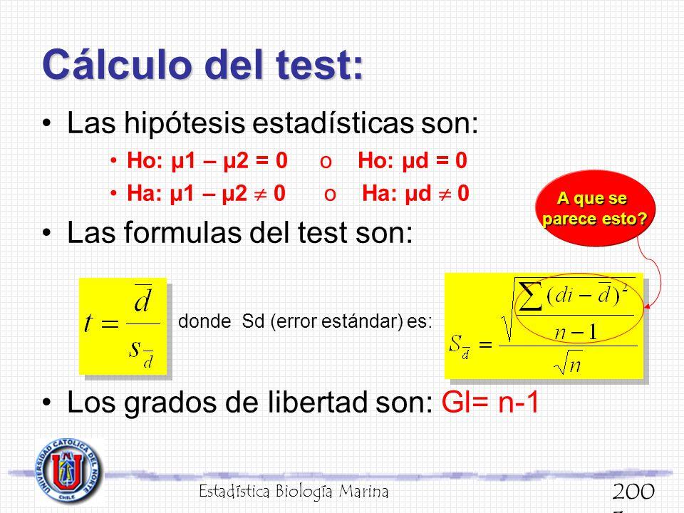 Cálculo del test: Las hipótesis estadísticas son: