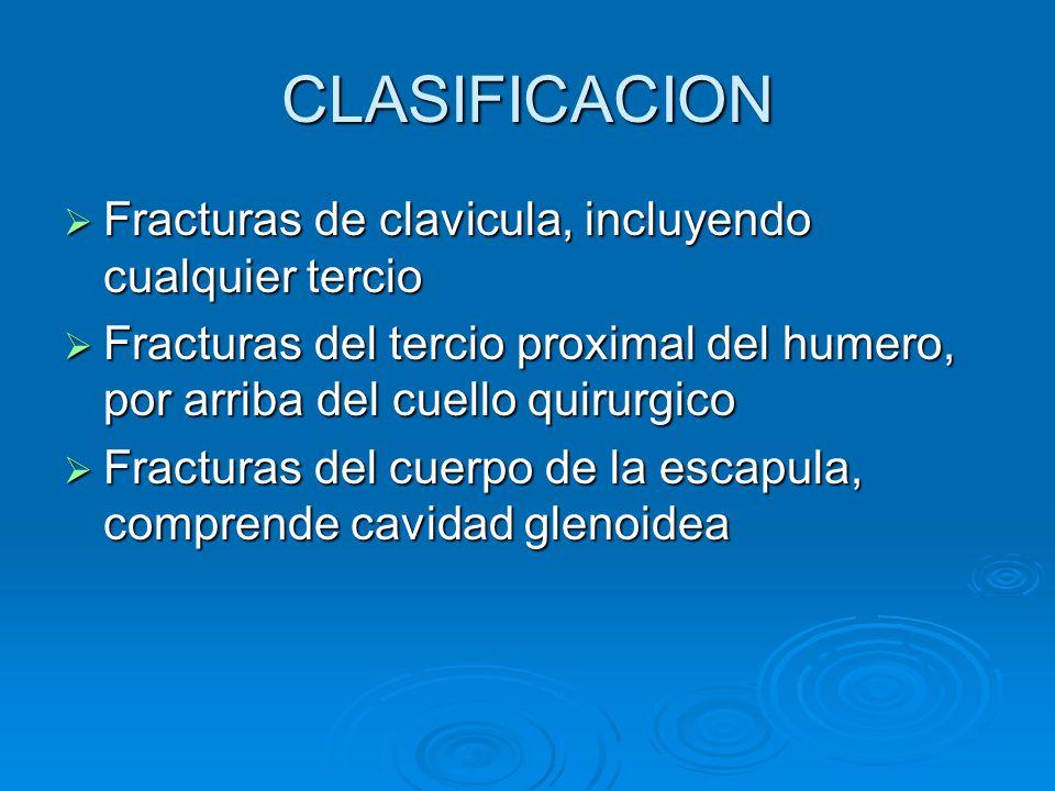 CLASIFICACION Fracturas de clavicula, incluyendo cualquier tercio