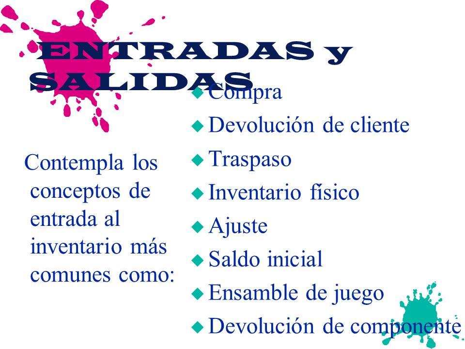 ENTRADAS y SALIDAS Compra Devolución de cliente Traspaso