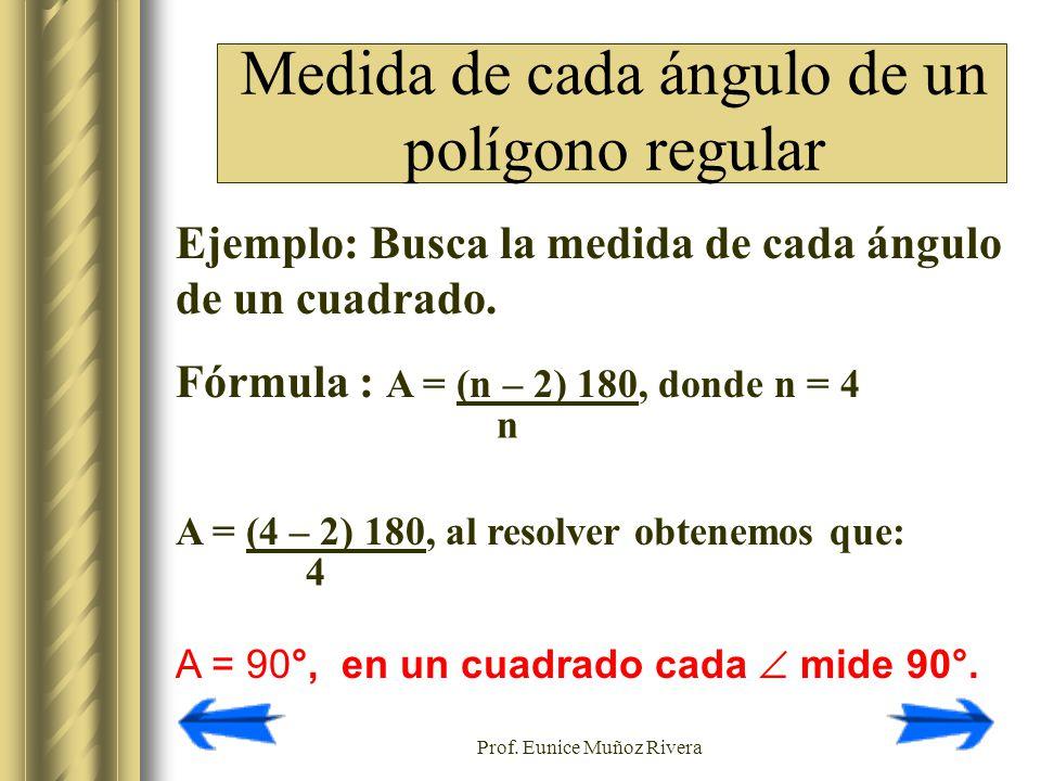 Medida de cada ángulo de un polígono regular