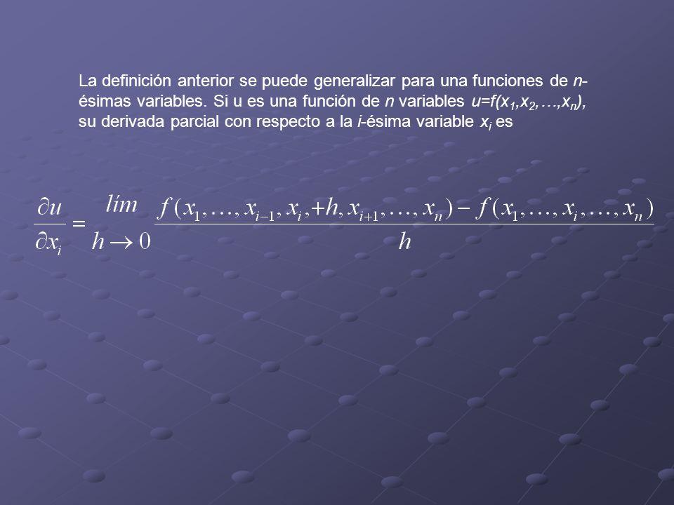 La definición anterior se puede generalizar para una funciones de n-ésimas variables.