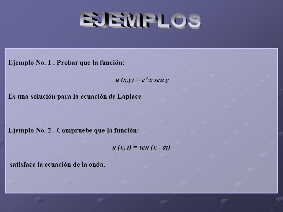 EJEMPLOS Ejemplo No. 1 . Probar que la función: u (x,y) = e^x sen y