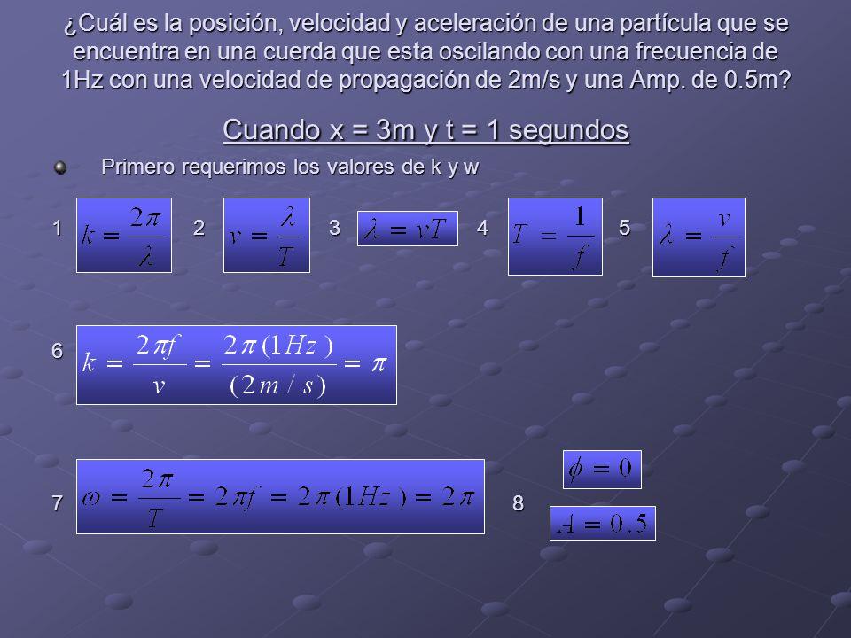 ¿Cuál es la posición, velocidad y aceleración de una partícula que se encuentra en una cuerda que esta oscilando con una frecuencia de 1Hz con una velocidad de propagación de 2m/s y una Amp. de 0.5m Cuando x = 3m y t = 1 segundos
