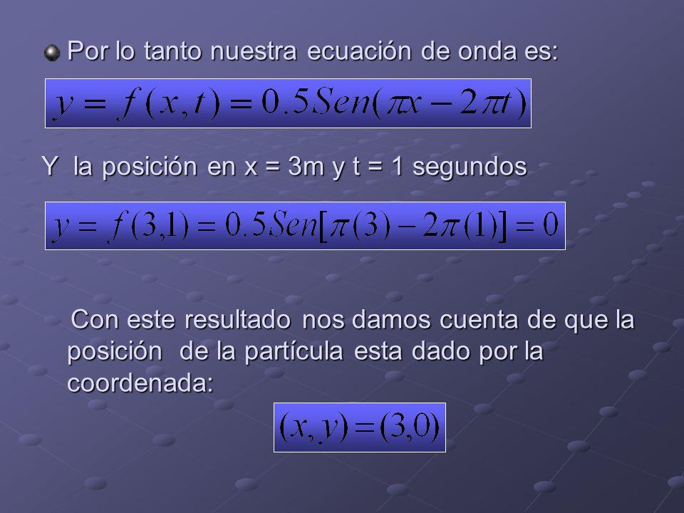 Por lo tanto nuestra ecuación de onda es:
