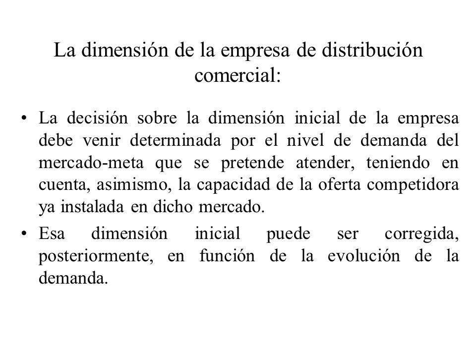 La dimensión de la empresa de distribución comercial: