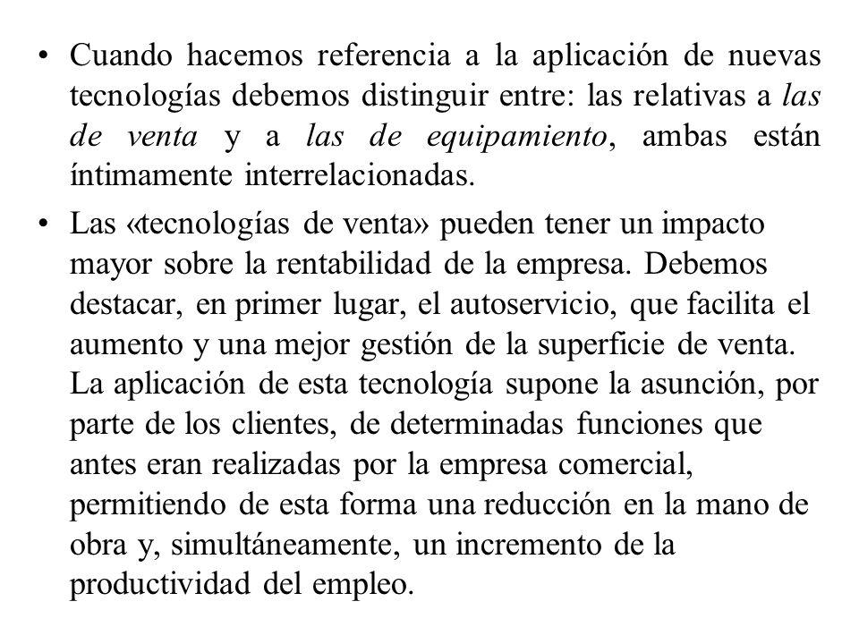 Cuando hacemos referencia a la aplicación de nuevas tecnologías debemos distinguir entre: las relativas a las de venta y a las de equipamiento, ambas están íntimamente interrelacionadas.