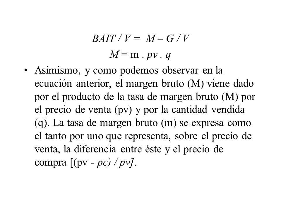 BAIT / V = M – G / V M = m . pv . q.