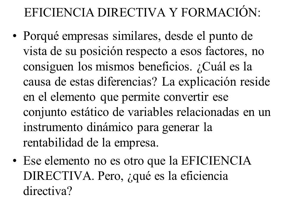 EFICIENCIA DIRECTIVA Y FORMACIÓN: