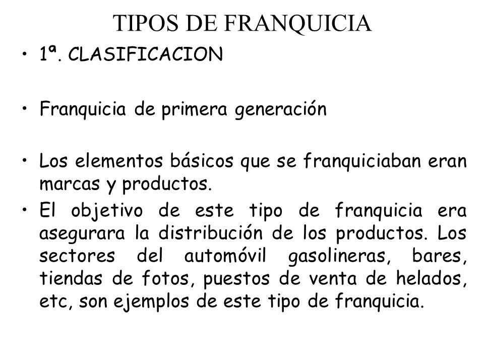 TIPOS DE FRANQUICIA 1ª. CLASIFICACION Franquicia de primera generación