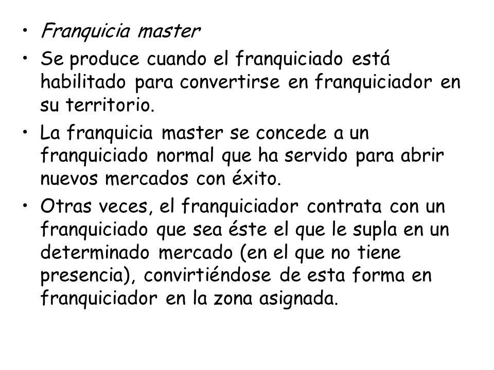 Franquicia master Se produce cuando el franquiciado está habilitado para convertirse en franquiciador en su territorio.