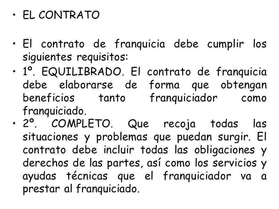 EL CONTRATO El contrato de franquicia debe cumplir los siguientes requisitos: