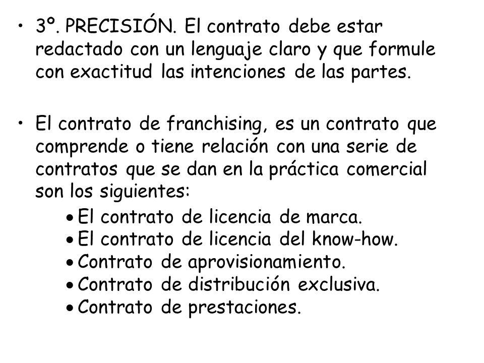 3º. PRECISIÓN. El contrato debe estar redactado con un lenguaje claro y que formule con exactitud las intenciones de las partes.