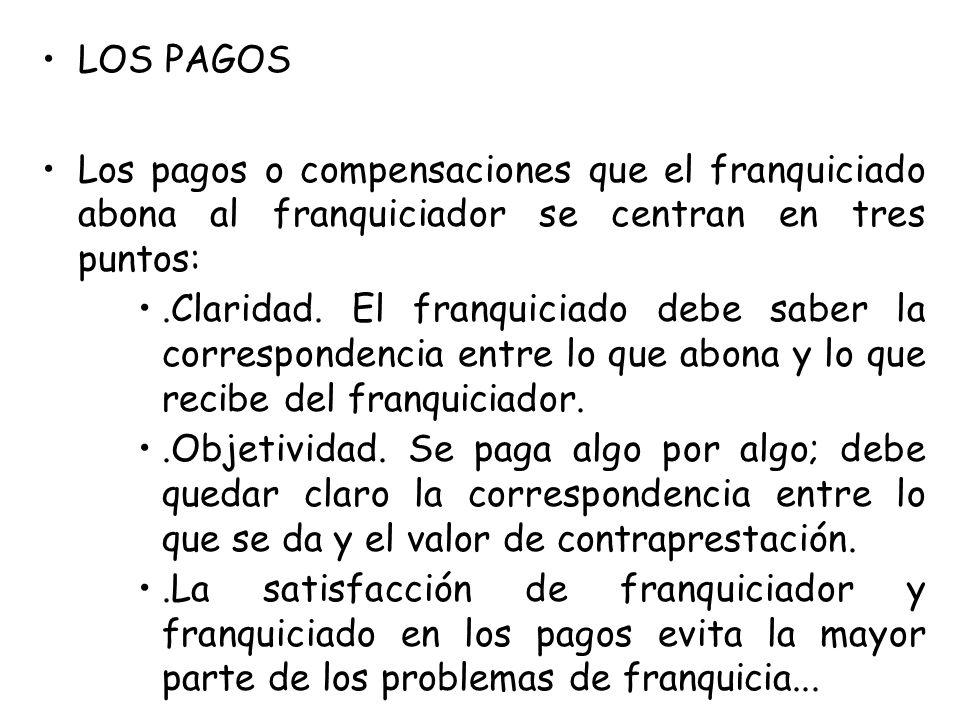 LOS PAGOS Los pagos o compensaciones que el franquiciado abona al franquiciador se centran en tres puntos: