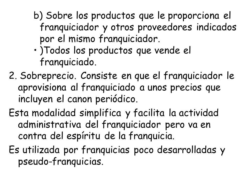 b) Sobre los productos que le proporciona el franquiciador y otros proveedores indicados por el mismo franquiciador.