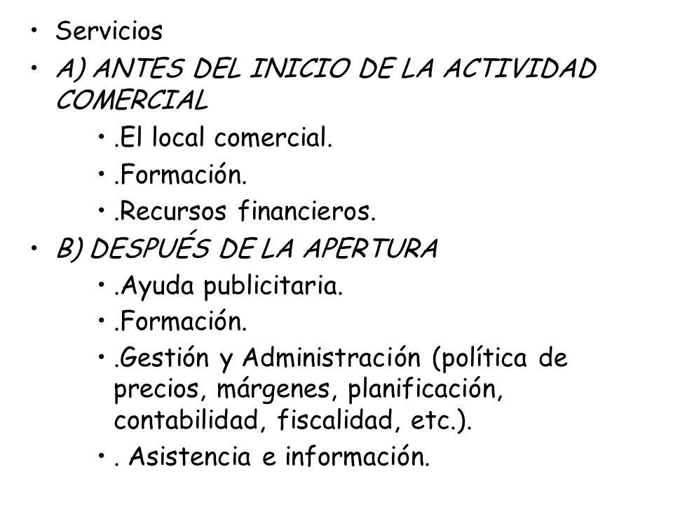 Servicios A) ANTES DEL INICIO DE LA ACTIVIDAD COMERCIAL. .El local comercial. .Formación. .Recursos financieros.