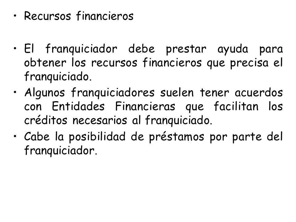 Recursos financieros El franquiciador debe prestar ayuda para obtener los recursos financieros que precisa el franquiciado.