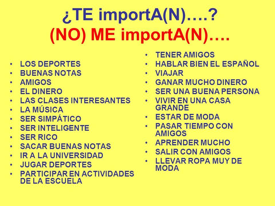 ¿TE importA(N)…. (NO) ME importA(N)….