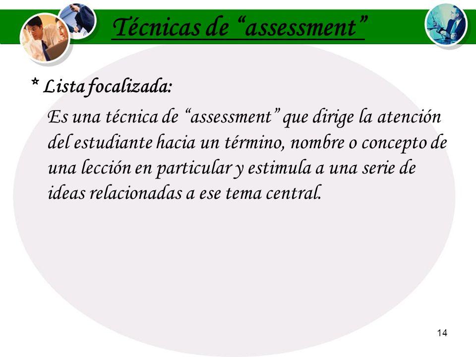 Técnicas de assessment