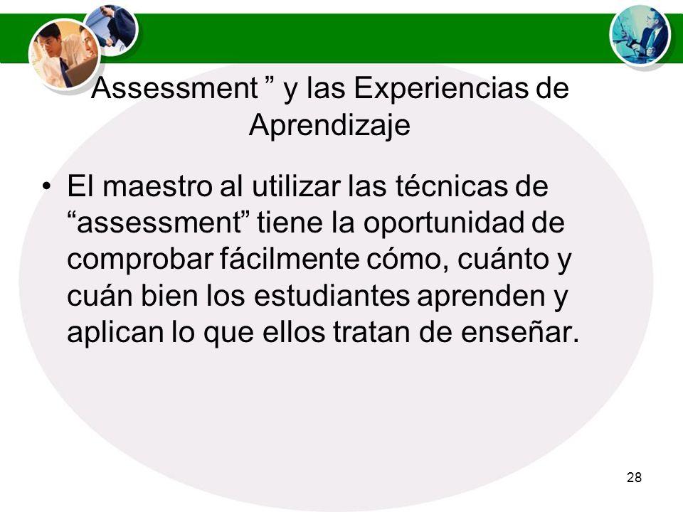 Assessment y las Experiencias de Aprendizaje