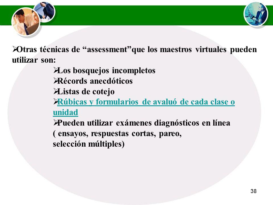 Otras técnicas de assessment que los maestros virtuales pueden utilizar son: