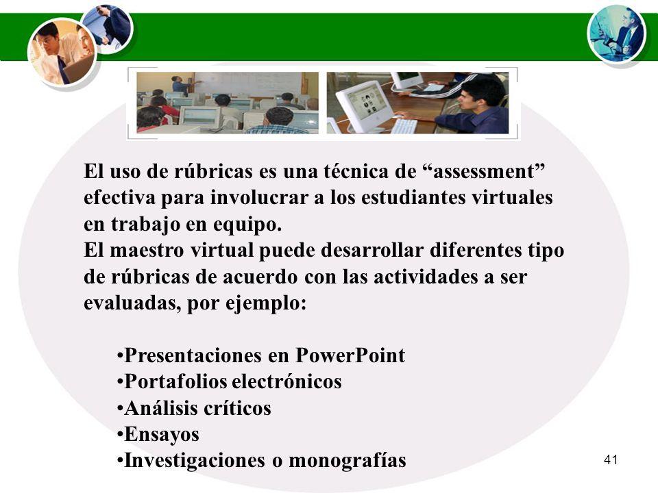 El uso de rúbricas es una técnica de assessment efectiva para involucrar a los estudiantes virtuales en trabajo en equipo.