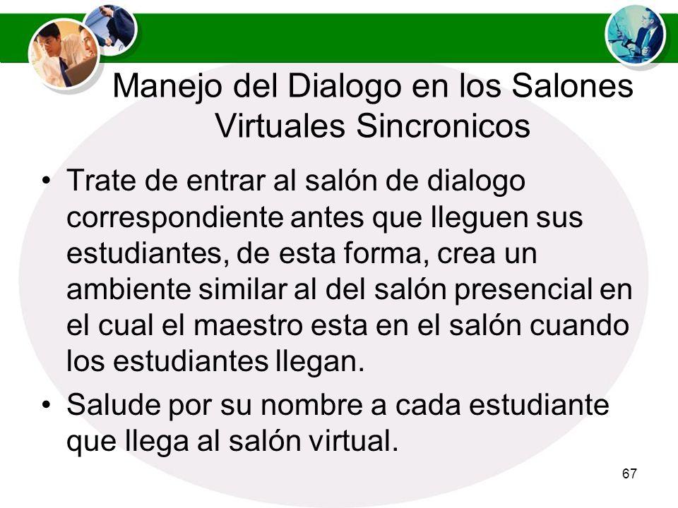 Manejo del Dialogo en los Salones Virtuales Sincronicos