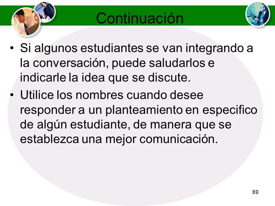Continuación Si algunos estudiantes se van integrando a la conversación, puede saludarlos e indicarle la idea que se discute.