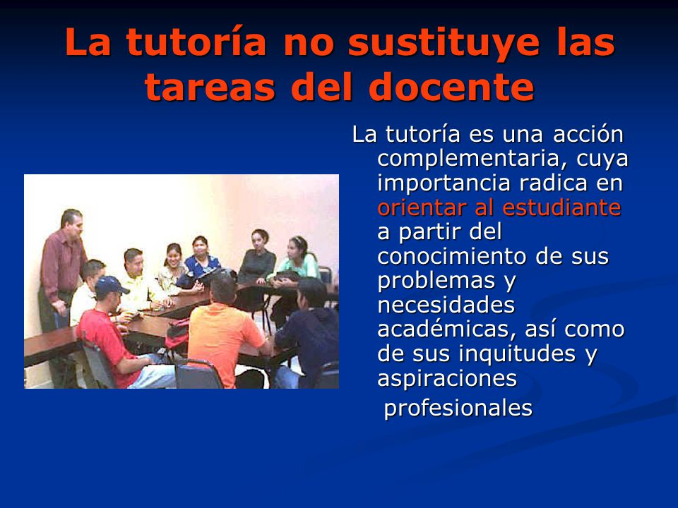 La tutoría no sustituye las tareas del docente
