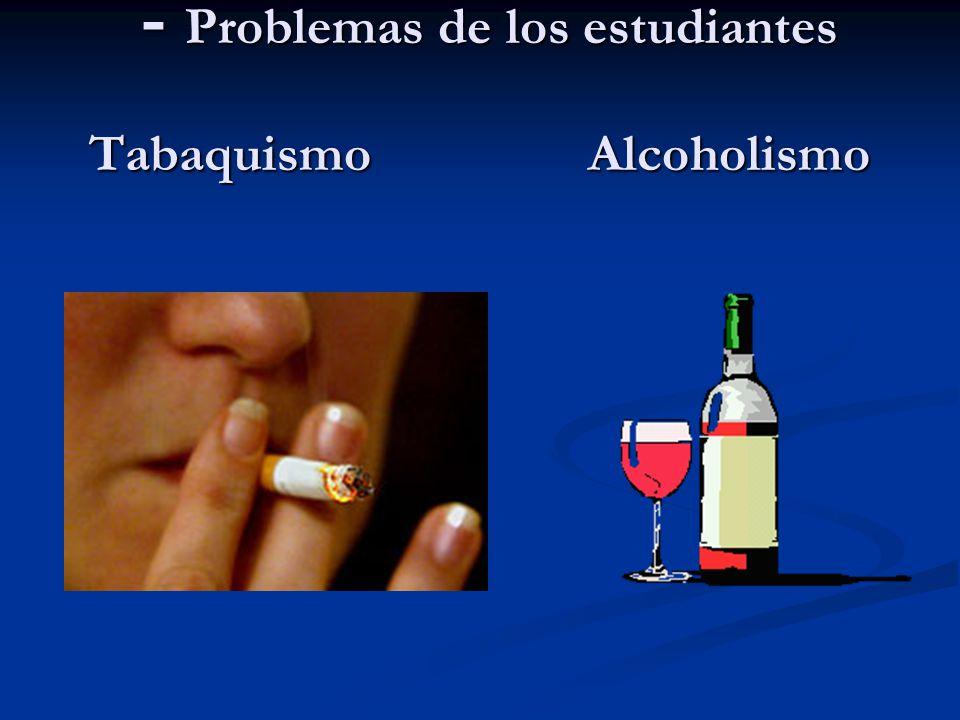 - Problemas de los estudiantes Tabaquismo Alcoholismo