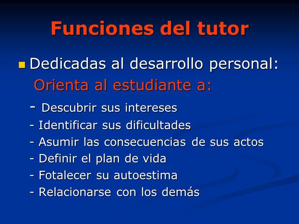 Funciones del tutor Dedicadas al desarrollo personal: