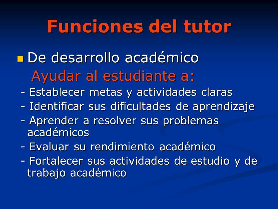Funciones del tutor De desarrollo académico Ayudar al estudiante a:
