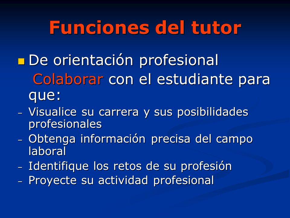 Funciones del tutor De orientación profesional