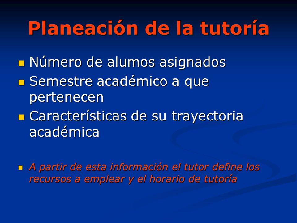 Planeación de la tutoría