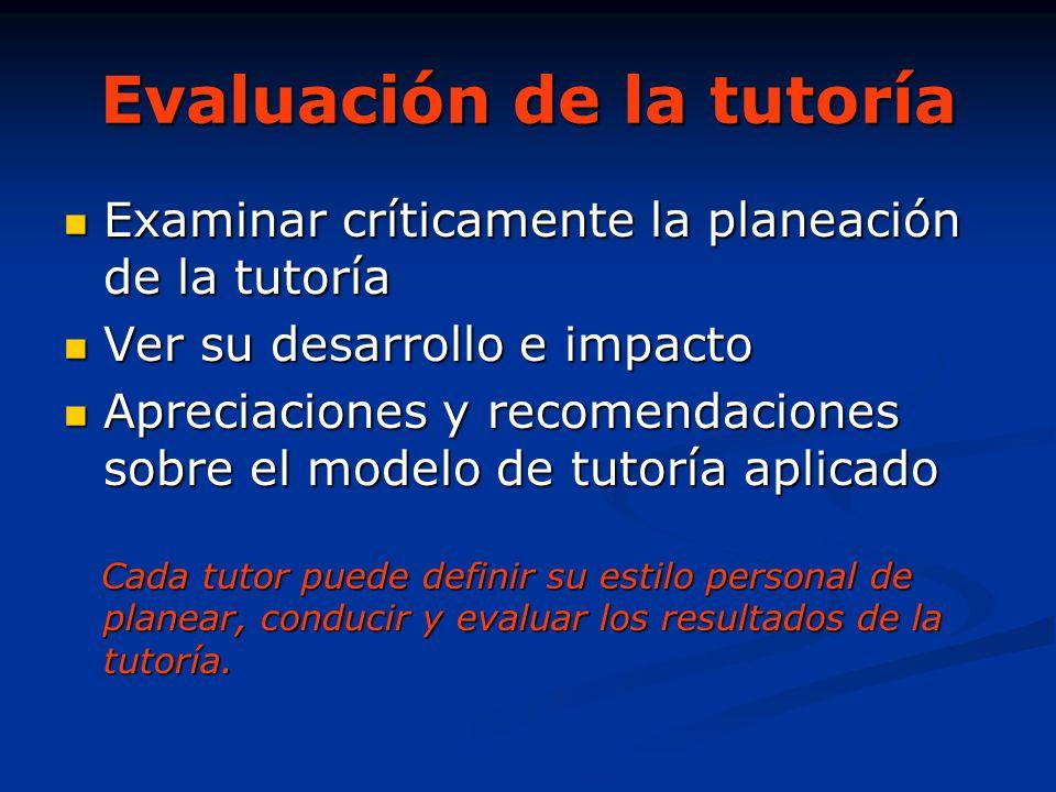 Evaluación de la tutoría