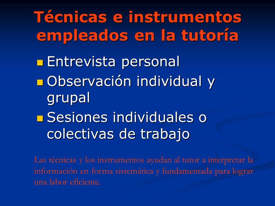 Técnicas e instrumentos empleados en la tutoría