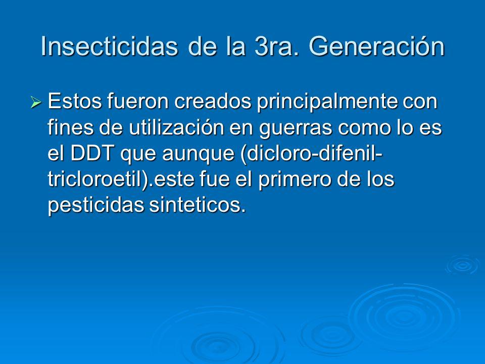 Insecticidas de la 3ra. Generación