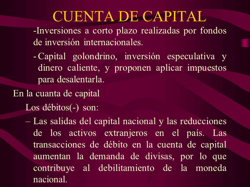 CUENTA DE CAPITAL -Inversiones a corto plazo realizadas por fondos de inversión internacionales.