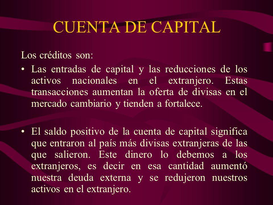 CUENTA DE CAPITAL Los créditos son:
